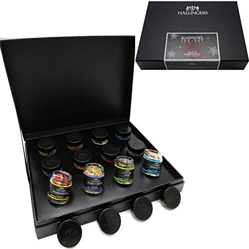 Hallingers 12er Tee-Geschenk-Set mit Tee aus aller Welt (120g) - Klassisches Tee-Set xMas (Design-Karton) - zu Weihnachten
