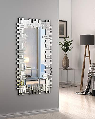 KOHROS Art Decorative Wall Mirrors Large Grecian Venetian Mirror for Hotel Home Vanity Sliver Mirror (W 24.8' x H 47.3' Rectangle)
