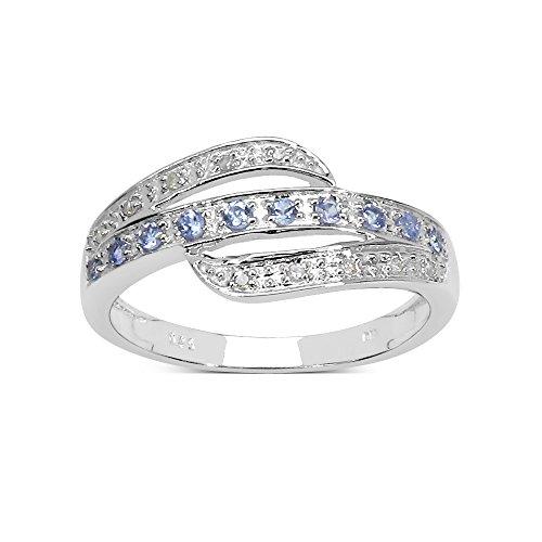 La Colección Anillo de diamantes: Anillo Tanzanita y Diamante genuinos en 3 Filas en...