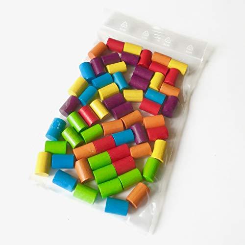 Spielsteine aus Holz für Brettspiele, Zylinder 10x15 mm, 6 Farben, 60 Stück (Regenbogen)