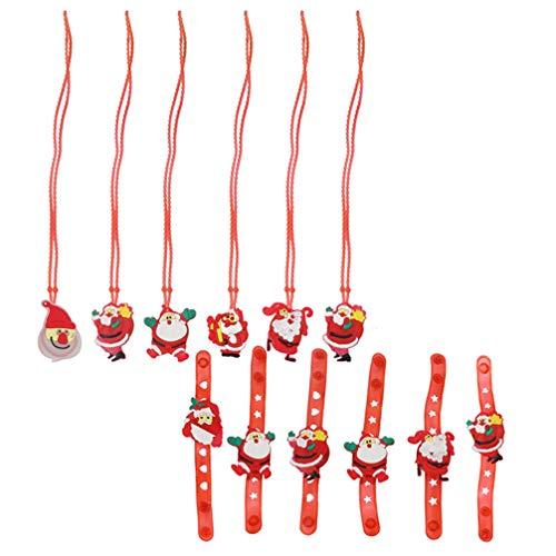 ABOOFAN Pulseras Led de Navidad Pulseras de Bofetada de Luz de Navidad Collar de Navidad Iluminado Que Brillan en La Oscuridad Juguetes Regalo de Relleno de Medias para Niños Favor de La