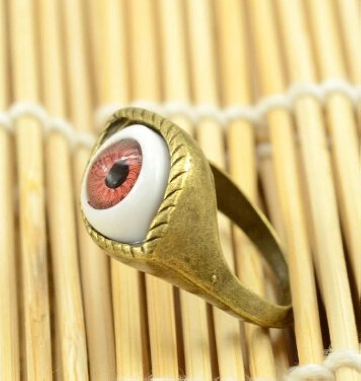 村キノコ痴漢Jicorzo - ヨーロッパと米国のゴシックパンク風のレトロな青と茶色の鬼の目のリング宝石の1pcsを誇張[ブラウン]
