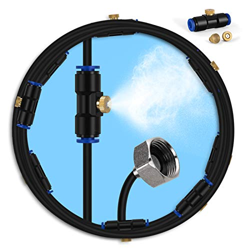 """lifeegrn Misting Cooling System, Outdoor Misting System for Patio, 40 FT Misting Line+10 Mist Nozzles+3/4"""" Brass Adapter,Outdoor Mister System for Patio Garden Trampoline Greenhouse"""