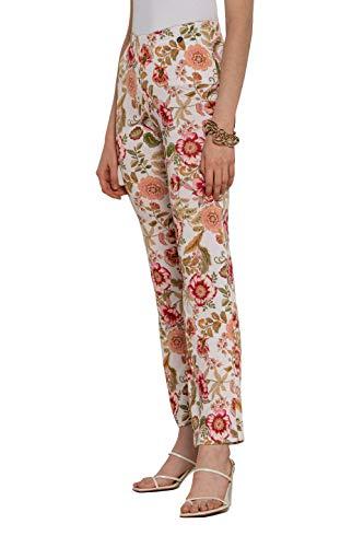 NAULOVER   Pantalón Recto de Punto Circular Estampado con Motivo Floral