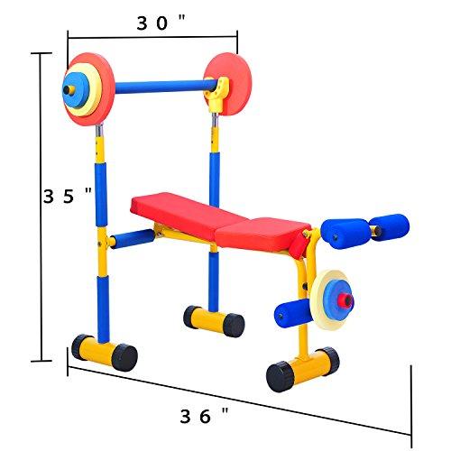 Kinbor Fitness Exercise Equipment for Kids Children Weight Bench Set,Birthday Gifts