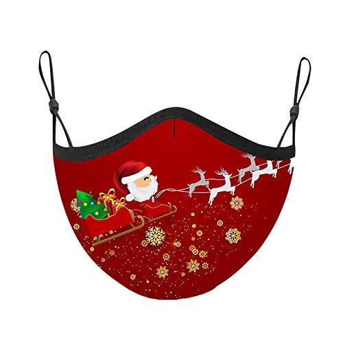 riou Weihnachten Mundschutz Waschbar mit Motiv Atmungsaktiv Mund und Nasenschutz Stoff für Erwachsene