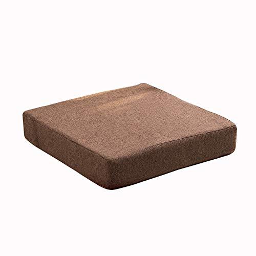Cojines cuadrados de jardín, cojines gruesos para sillas de comedor, sillas de comedor, almohadillas para el suelo para interiores y exteriores, alfombrillas antideslizantes (marrón, 45 x 45 x 8 cm)