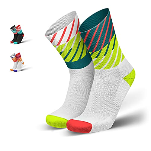 INCYLENCE Diagonals gepolsterte Laufsocken lang, Running Socks, atmungsaktive Sportsocken mit Anti-Blasen Schutz, Kompressionsstrümpfe, Weiß, Neonrot, Neongelb, 39-42