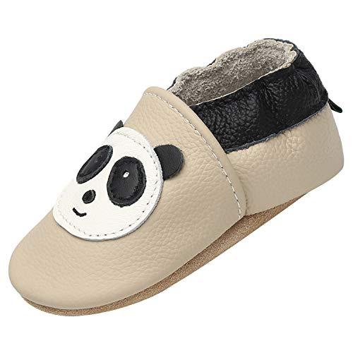 Unisex Bebé Zapatos Suave Antideslizante Niñas Primeros Pasos Zapatillas Antideslizante Elásticos Zapatos de Bebé Cómodos, Panda Beige 6-12 Meses