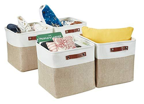 DECOMOMO faltbare Aufbewahrungskorb | robuster Stoffkorb mit Griffen für die Organisation von Regal, Kinderzimmer, Spielzeug, Schrank (Beige und Weiß, Würfel 28cm - 4er Pack)