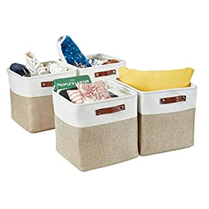 DECOMOMO Foldable Storage Bin | Collapsible Sturdy Cationic Fabric Storage Basket Cube W/Handles