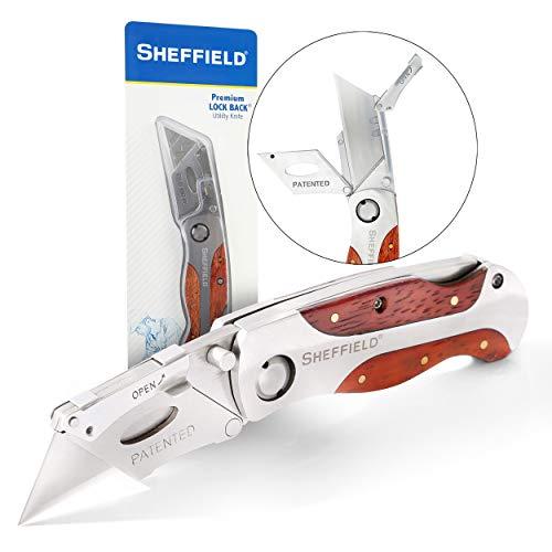 Sheffield 12115 Ultimate Lock Back Utility Knife, Folding, Box Cutter Knife, Carpet Knife, Drywall Cutter, and More, Quick-Change Blade, Back Lock Design, Aluminum & Wood Handle