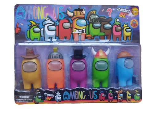 Kit C/5 Bonecos Among Us Jogo Game Brinquedo Chapéu Removível C/ Luzes