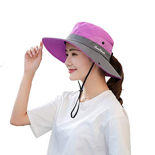 Womens UV Protection Wide Brim Sun Hats - Cooling Mesh Ponytail Hole Cap Foldable Travel Outdoor Fishing Hat Purple