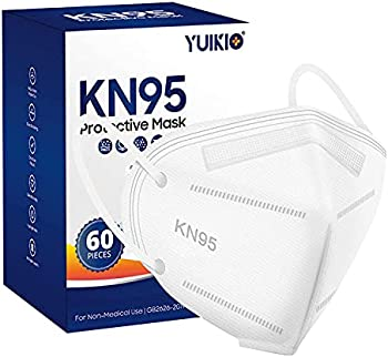 60-Pack YUIKIO 5 Layers Disposable KN95 Face Mask (White)
