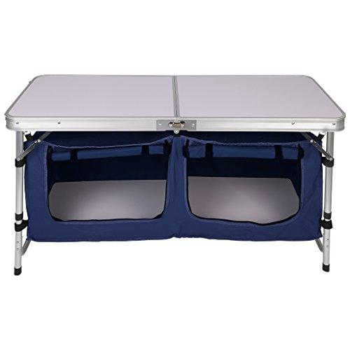 Finether - Tavolino pieghevole in alluminio, leggero e portatile, regolabile in altezza, di forma rettangolare, con 2scomparti, con borsa portaoggetti, per uso interno o esterno, per pic nic, feste, campeggio, casa, giardino, cortile, prato, colore: bianco