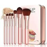 Juego de 7 brochas de maquillaje para ojos, labios, cara, base, herramientas cosméticas