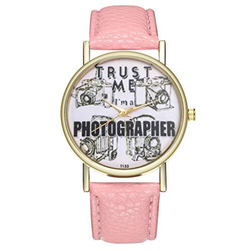 Damen Jugendliche Mädchen Wasserdicht Blau Echtleder Designer Uhren Frauen Leuchtend Rosa