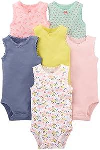Simple Joys by Carter's - Body sin mangas para niña (6 unidades) ,Pink, Purple, Yellow, Floral ,Preemie