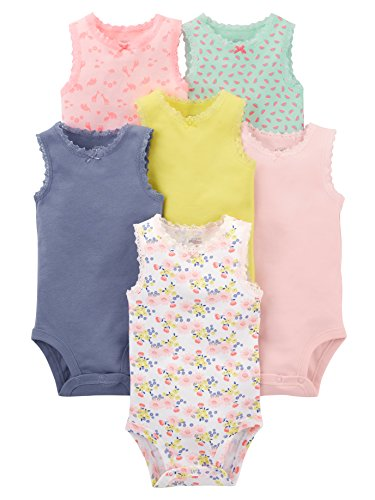 Simple Joys by Carter's - Body sin Mangas para niña (6 Unidades), Pink, Purple, Yellow, Floral, 24 Months
