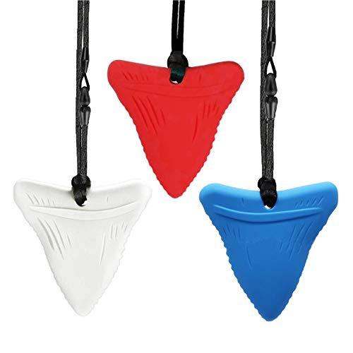 Mordedor Bebe Dientes De Tiburón Mordedores Bebes Collar Lactancia Collar Mordedors Silicona Niños Autismo Juguetes Masticables Para Sensoriales (Rojo, Blanco, Azul)