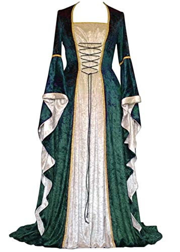 YEAXLUD Womens Renaissance Medieval Costume Dress Lace up Irish Over Long Dresses Cosplay Retro Gown S-5XL (XL, Green)