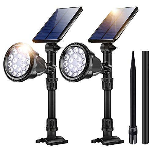 Outdoor Solar Lights, 18 LED Spotlight Waterproof Landscape Lights Solar Security Lamps for Garage Deck Garden Wall (White Light, Pack of 2)