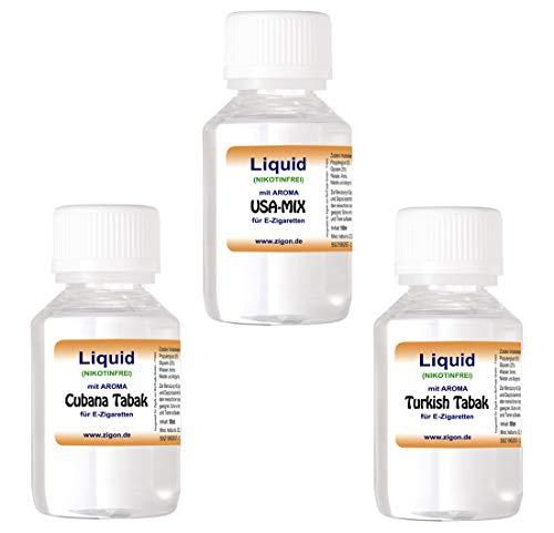 ZigoN E-Liquid 3 x 100 ml für E-Zigarette Liquid shisha-Liquid e Liquid Set - USA-MIX, CUBANA, TÜRKISH Tabak