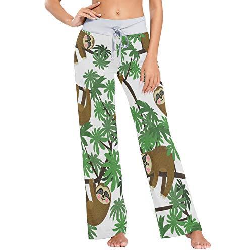 Lindos Perezosos de la Selva Palmera Estampado de Animales para Mujer Pijama Ropa de Dormir Suelta Palazzo Casual con cordón Pantalones de Yoga-M