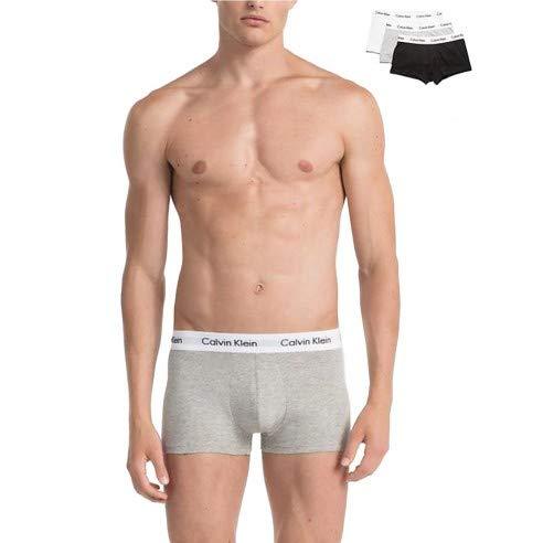 Calvin Klein Low Rise Trunk 3pk Boxer, Multicolore (Black/White/Grey Heather), S (Pacco da 3) Uomo