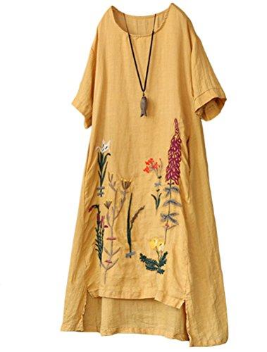 Mallimoda Damen Rundhals Kurzarm Sommerkleid Embroidery Leinen Kleider Art 1-Gelb XXL