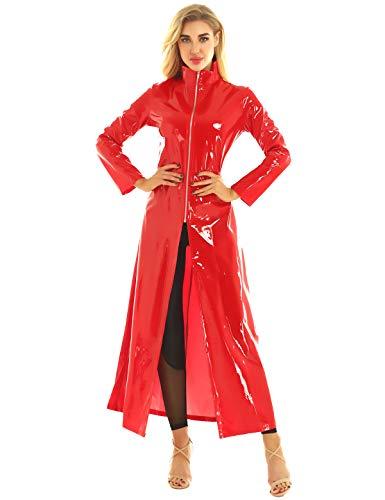 Agoky Ledermantel Jacke Übergangsjacke Trenchcoat Stehkragen mit Reisverschluss Party Kostüm Clubwear Rot XL