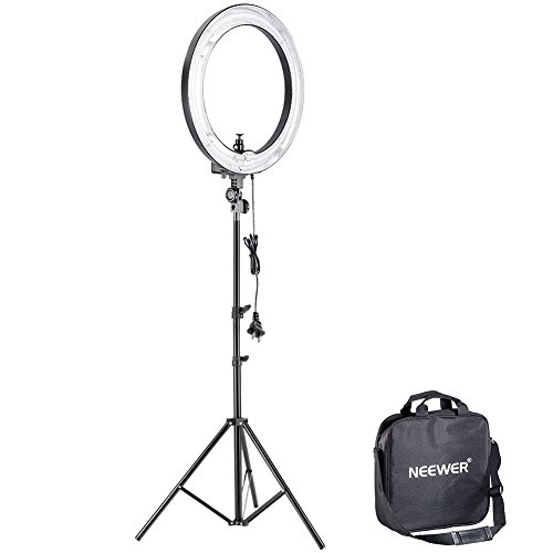 """Neewer 14""""Outer 10""""Inner 400W 5500K Ring Fluorescent Flash Light Kit, Includes(1)Ring Fluorescent Flash Light+(1)75""""/190cm Light Stand+(1)Mini Ball Head and Hot Shoe Adapter Camera Cradle"""