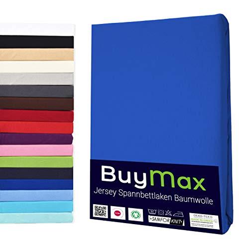 Buymax Spannbettlaken 180x200-200x200 cm Spannbetttuch Bettlaken 100% Baumwolle Jersey Bettbezug für Matratzen bis 25 cm Steghöhe, Blau Dunkelblau
