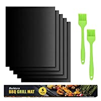 BACKTURE BBQ Grill Mat (5 pcs) 33x40 cm + 2 Brushes for Grilling and BBQ Non-Stick Grill Baking Mat Large Grill Foil… 6