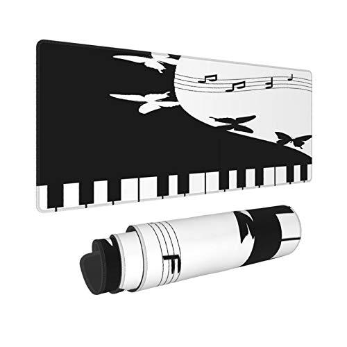 Extra Groß Mauspad mit Genähten Kanten,XL-75 x 40 x 0.3cm,Schwarzweiss-Klavier,Schreibtisch Mat Personalisiert für Die Arbeit Spiel Büro Computer Laptop