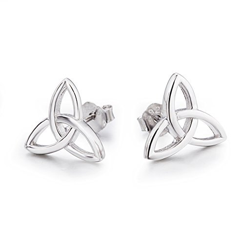 Celtic Earrings Sterling Silver Irish Triquetra Trinity Celtics knot Stud Earrings Studs Jewelry Gifts for Women Teen Girls