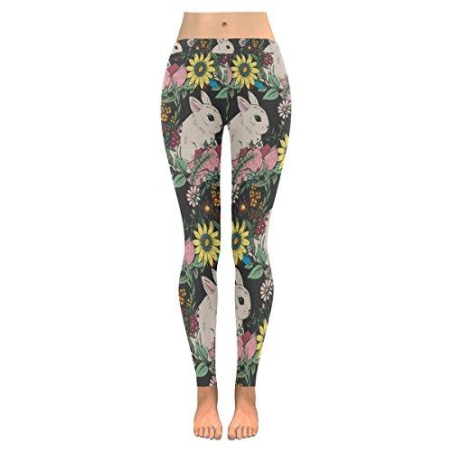 INTERESTPRINT Easter Rabbit Custom Stretchy Capri Leggings Skinny Pants for Yoga Running Pilates Gym M