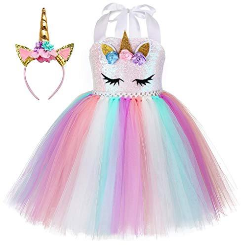 MYRISAM Costume di Carnevale Abito Tutu Unicorno Arcobaleno per Bambina Principessa Vestito da Festa di Compleanno Natale Halloween Cosplay Cerimonia Festa Abito con Cerchietto 10-12 Anni