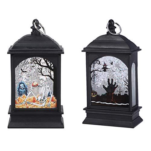Amosfun lámpara de mesa led de halloween lámpara de noche colgante lámpara de patrón de esqueleto de mano de ghoul decorativo para fiesta de patio en casa 2 piezas