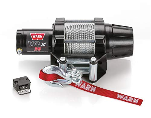 WARN 101035 VRX 35 Powersports Winch with Handlebar Mounted Switch and Steel Cable Wire Rope: 7/32' Diameter x 50' Length, 1.75 Ton (3,500 lb) Capacity