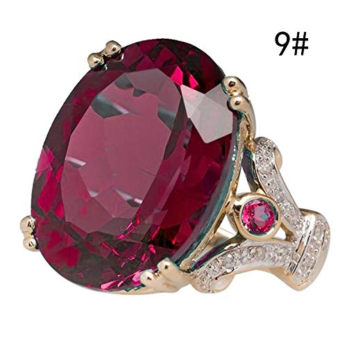 Gbell Women Luxury Ruby Diamond Rings Statement Charms - Fashion Gorgeous Gemstones Gold Engagement Wedding Rings for Women Ladies Girls Jewelry Gifts,Size 6 7 8 9 10