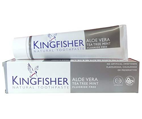 TRE CONFEZIONI DI Kingfisher Naturale Aloe Vera Tea Tree Menta senza fluoro DENTIFRICIO 100ML