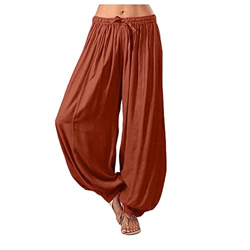 Pantalon Large Femme D'été Décontracté Ample Grande Taille élastique Couleur Unie Casual Sarouel Lâche Pantalons de Yoga Sport Travail Legging Pants Long Pantalon Cargo Pas Cher pour Femmes