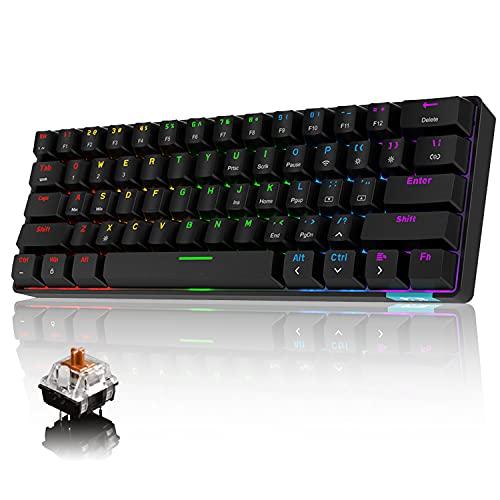 Tastiera meccanica al 60% con cavo / senza fili Tastiera Bluetooth 5.0 RGB Arcobaleno retroilluminato a LED USB Type-C Tastiera da gioco impermeabile Tasti anti-ghosting (interruttore marrone)