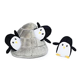 ZippyPaws – Arctic Pals Burrow, Interactive Squeaky Hide and Seek Plush Dog Toy – Penguin Cave