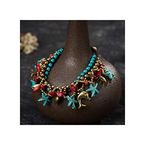 Pulsera Bohemia Joyería de Playa Starfish Colgante Mano Tejida Pulsera Hombres y Mujeres de muñequera Universal de Las Mujeres (Color : D)