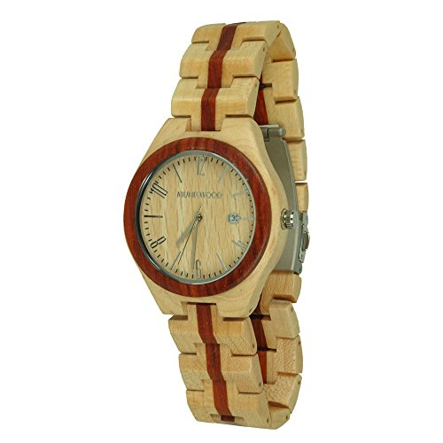 Munixwood Holzarmbanduhr Redline Ahornholz Datum und Uhrenbox