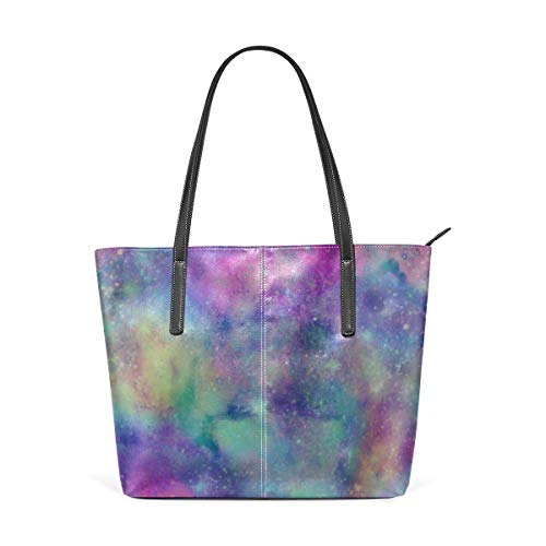 BAODANLA Borse a spalla da donna Laptop Tote Bag Abstract Starry Galaxy Universe Large Printed Shoulder Bags Handbag Pu Leather Top Handle Satchel Purse Lightweight Work Tote Bag For Women Girls