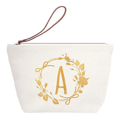 ElegantPark Monogrammed Gifts for Women Personalized Makeup Bag Monogram A Initial Makeup Bag for Wedding Gifts Birthday Gifts Teacher Gifts Cosmetic Bag Canvas